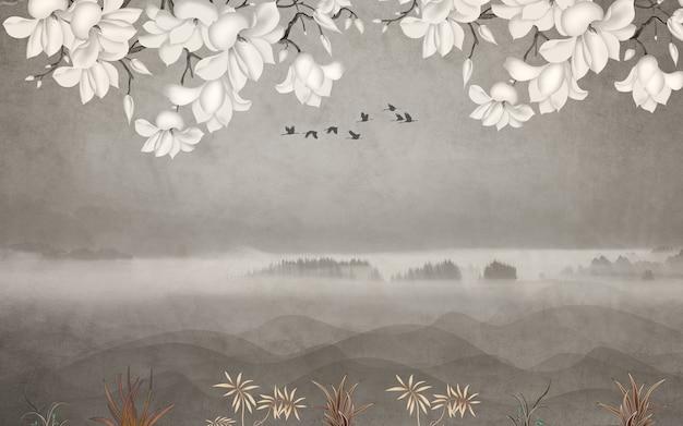 Florale wandtapete mit hellen, einfachen hintergrundzweigen aus blumenkräutern und vögeln