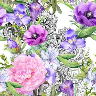 Floraler weinlesehintergrund - blumen und dekor im boho-stil. nahtloses muster. aquarell