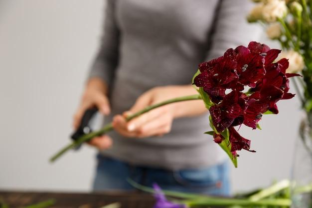Florist, der blumenstraußblumen in der vase macht
