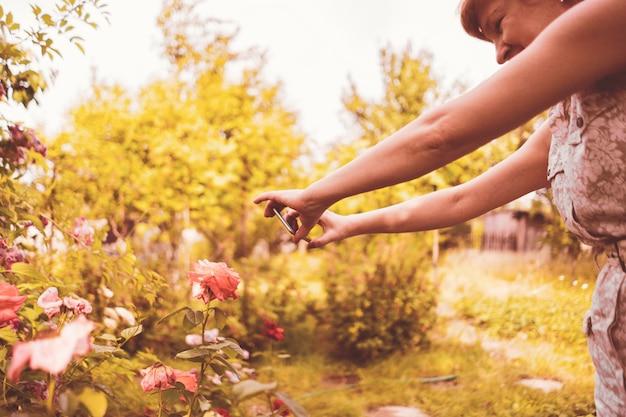 Floristin macht ein foto von blumen auf ihrem handy im garten
