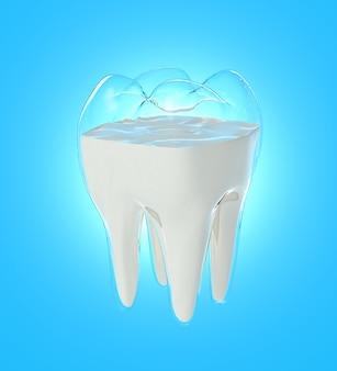 Flow milch ändern sich in zahnform, konzept der stärke aus dem getränk