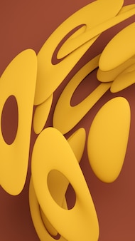 Flüssige abstrakte formen 3d rendering illustration. fettgelbe und erdiggrüne materialien. kreative trendige tapete.