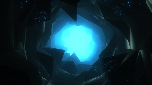Flug im abstrakten futuristischen tunnel