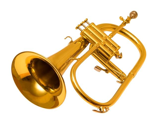 Flugelhorn isoliert auf weiß. trompete.