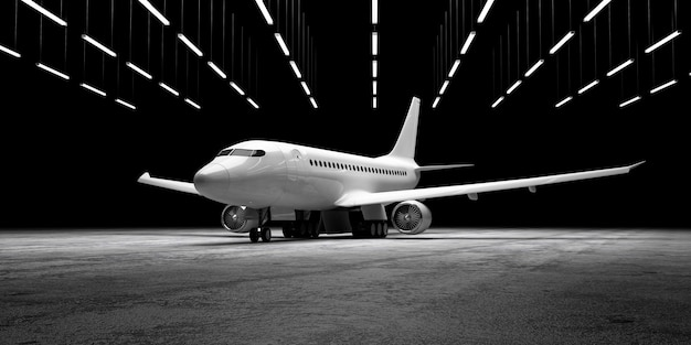 Flugzeug auf betonboden im hangar mit lampenbeleuchtung