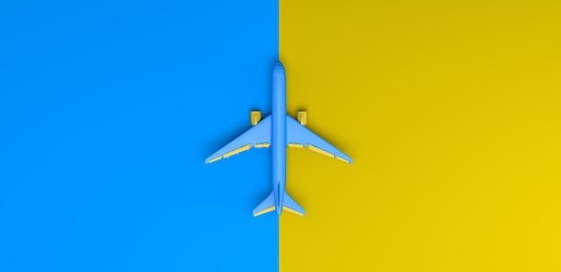 Flugzeug auf gelbem und blauem hintergrund. ansicht von oben. flach liegen. 3d-darstellung. banner.