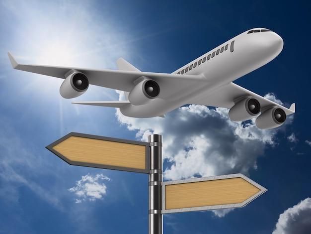 Flugzeug auf himmelhintergrund. 3d-illustration