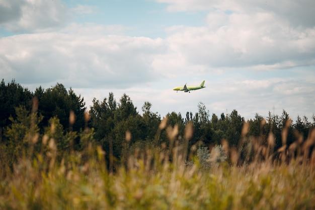 Flugzeug, das über wald landet. passagierflugzeug.