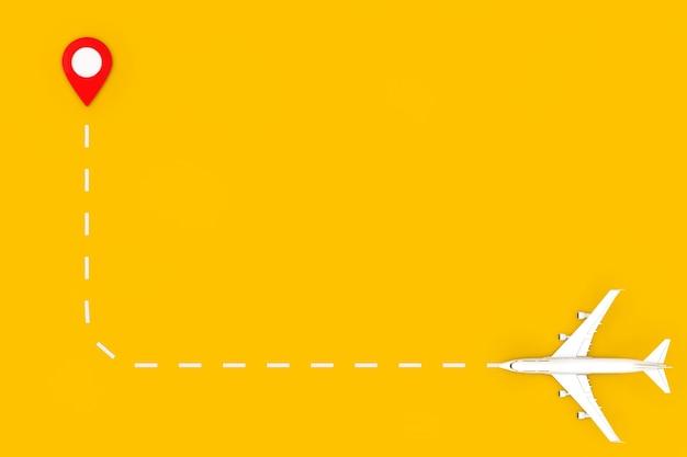 Flugzeug des weißen jet-passagiers fliegen zum kartenzeiger-pin auf einem gelben hintergrund. 3d-rendering