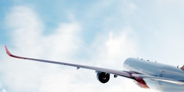 Flugzeug fliegt auf blauem himmel.
