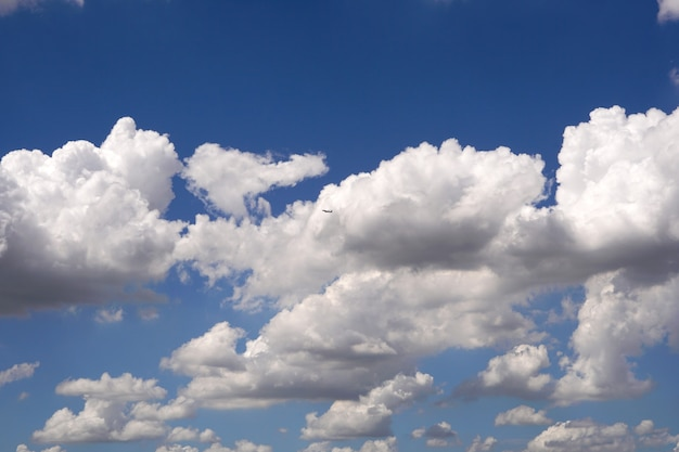 Flugzeug fliegt über die wolken in den hintergründen des blauen himmels
