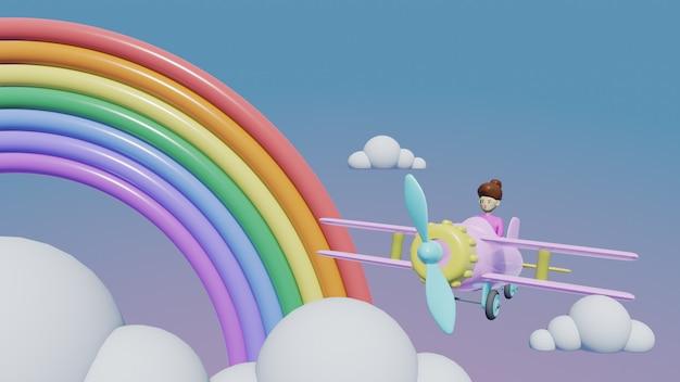Flugzeug mit wolken hintergrund