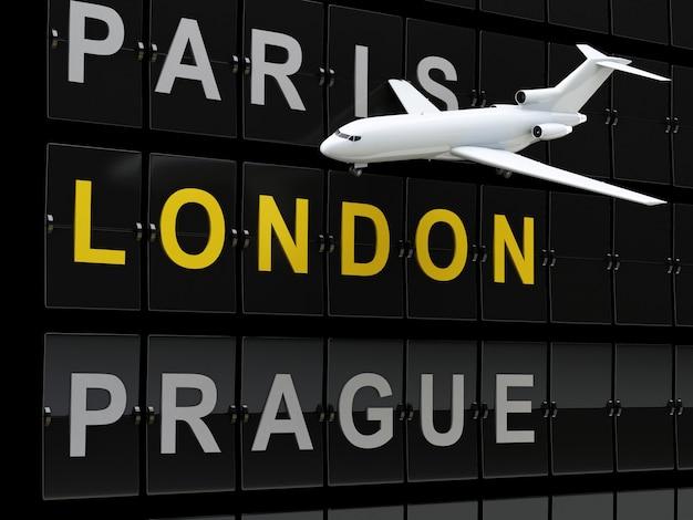 Flugzeug- und flughafenbrett 3d, europa-bestimmungsort.