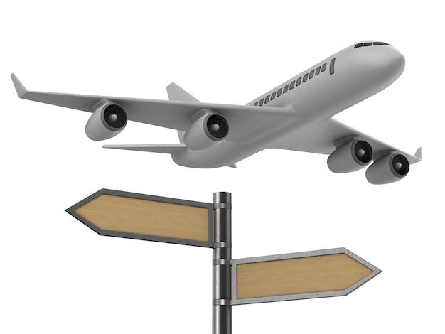 Flugzeug und wegweiser auf weiß