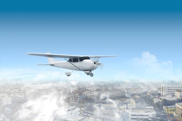 Flugzeuge fliegen in der luft über der stadt