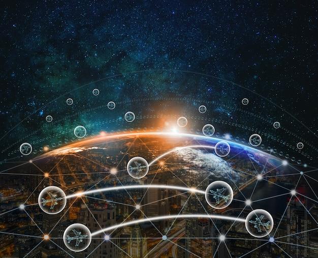 Flugzeuge in der blase zwischen dem fliegen zwischen zwei ländern über technologie digital