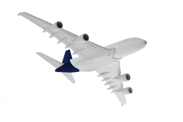 Flugzeugmodell mit blauer farbe auf dem endstück lokalisiert auf weißem hintergrund