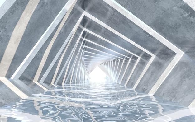 Flurgestaltung mit wasserboden. konzeptentwicklung. 3d-rendering