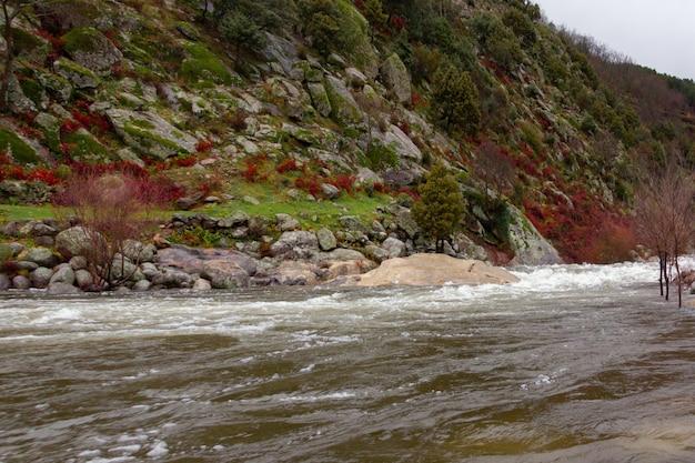 Fluss mit starker wasserströmung, der neben dem berg vorbeiführt.