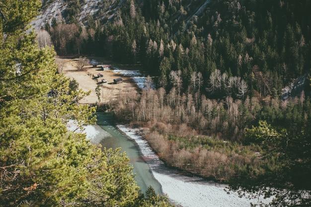 Fluss umgeben von hügeln mit wäldern unter dem sonnenlicht bedeckt