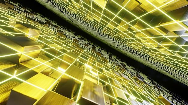 Flying grid on gold cube background für werbung in der luxus- und modepartyszene