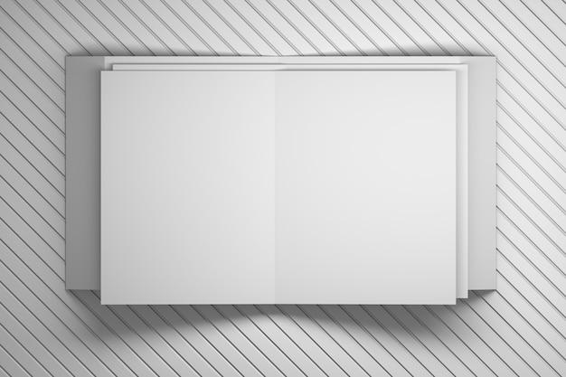 Folden-weißbuchbroschüren-broschürenblätter, die auf weiße dekorative gestreifte oberfläche legen.