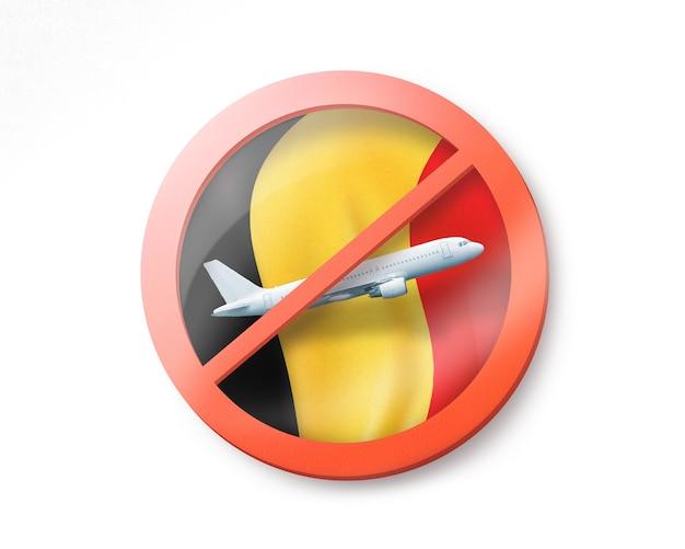 Forbbiden-zeichen mit durchgestrichenem weißen flugzeug auf der belgischen flagge auf einem weißen, kopienraum. beschränkung der einreise nach belgien. quarantänekonzept. 3d-illustration