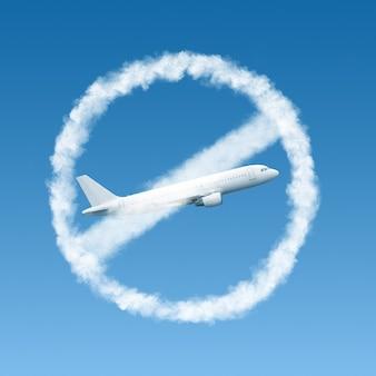 Forbbiden zeichen von wolken mit durchgestrichenen weißen ebene des blauen himmels. flugbeschränkung. coronavirus, covid 19-pandemie, globales unglück. quarantänekonzept.