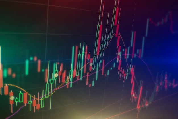 Forex trading graph und candlestick chart geeignet für das finanzanlagekonzept. wirtschaftstrends hintergrund für geschäftsidee und alle kunstwerke. abstrakter finanzhintergrund.