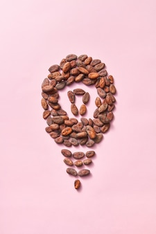 Form der glühbirne aus natürlichen organischen trockenen kakaobohnen auf hellrosa hintergrund mit kopierraum. wirkung der verbesserten menschlichen gehirnaktivität durch schokolade.