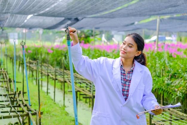 Forscher in einem weißen kleid und erforscht den garten, bevor er eine neue orchidee pflanzt.