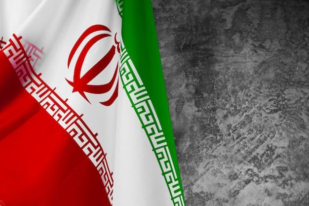 Foto der gewebeflagge des iran-abschlusses oben