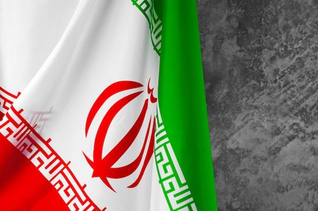 Foto der stoffflagge des iran, nahaufnahme