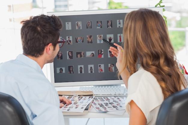 Foto-editoren, die an thumbnails arbeiten