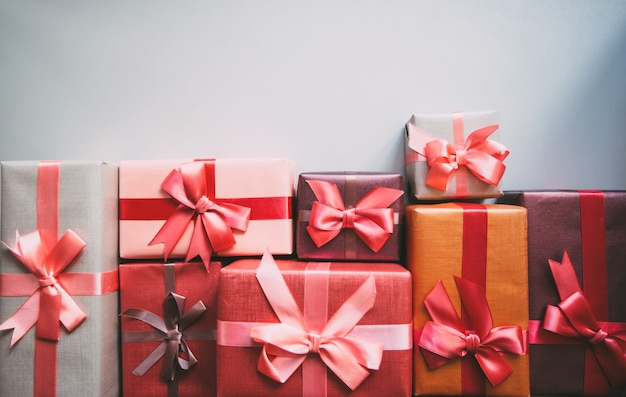 Foto geschenkboxen draufsicht.