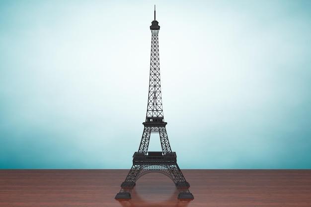 Foto im alten stil. eiffelturm auf dem tisch