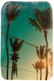 Foto im retro-stil mit volleyballnetz am strand und an den palmen hinter blauem sommerhimmel
