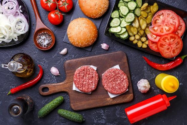 Foto oben auf zutaten für hamburger