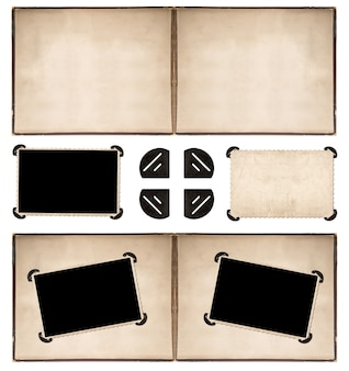 Fotoalbumseite mit rahmen und ecken im retro-stil auf weißem hintergrund