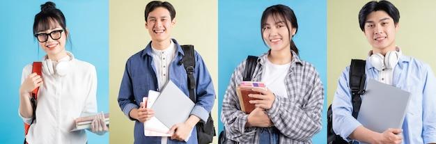 Fotocollage fröhlicher asiatischer jugendlicher