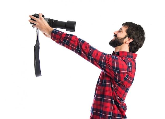 Fotograf, der ein selfie macht