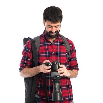 Fotograf über weißem hintergrund