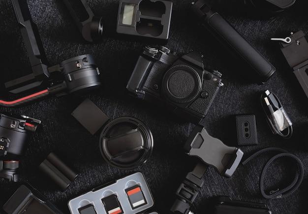 Fotografenarbeitsplatz, kardanische stabilisatoren und kamerazubehör