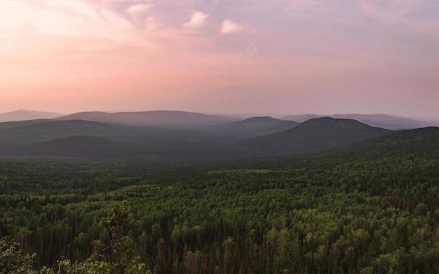 Fotografie der berggipfel. schöner violetter himmel im hintergrund. außenansicht, grüner wald oben auf dem berg. sommerlandschaft.