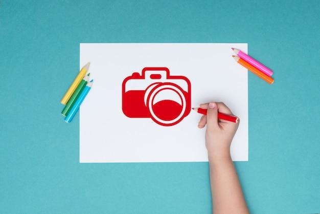 Fotografie zum thema zeichnen und kreativität