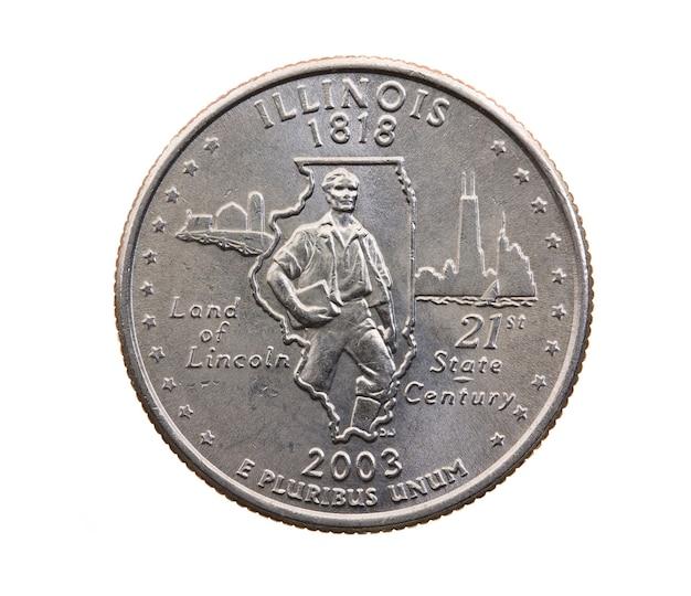 Fotografierte nahaufnahme auf dem amerikanischen viertel des weißen münzdollars fünfundzwanzig cent, illinois