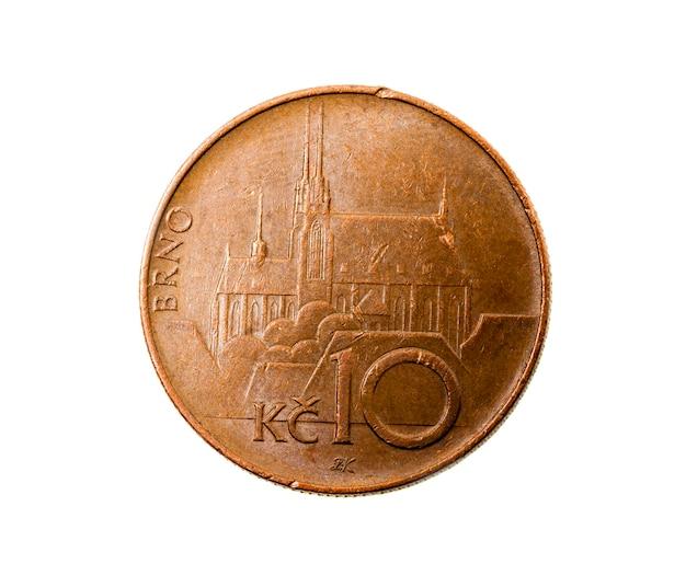 Fotografierte nahaufnahme auf einem weißen zehnkronen, geld europa tschechische republik