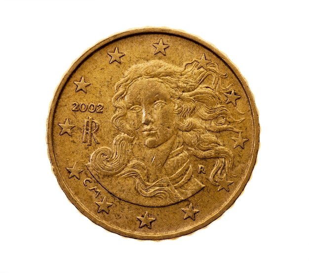Fotografierte nahaufnahme auf euroten-cent der weißen münze