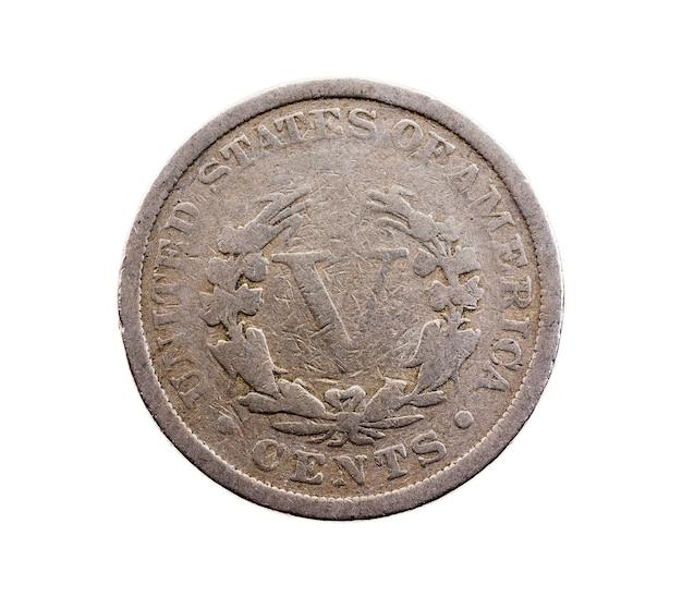 Fotografierte nahaufnahme auf weißer münze, amerikanische cent
