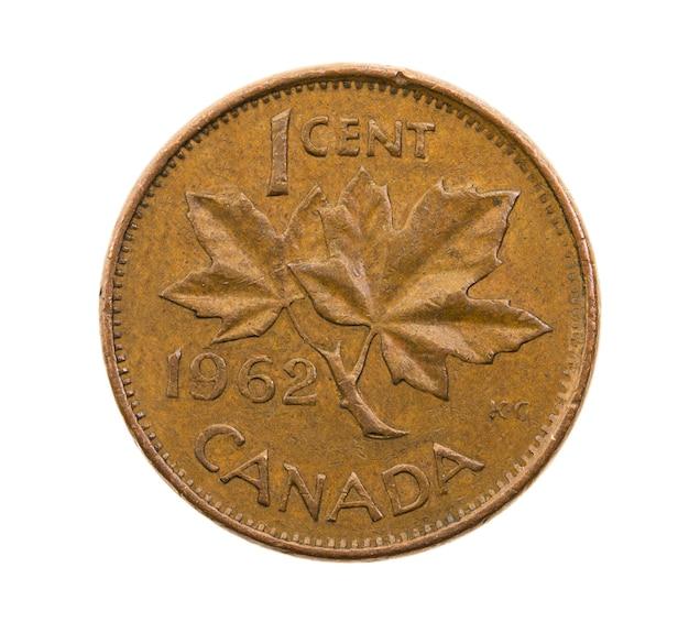 Fotografierte nahaufnahme auf weißer münze, ein kanadischer cent